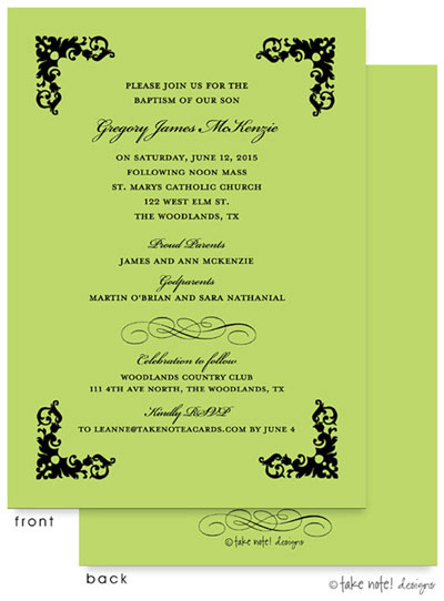 Take Note Designs Baptism Invitations - Four Corner Scroll Green