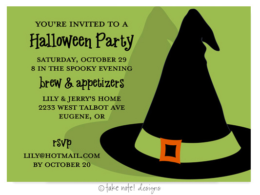 Take Note Designs - Halloween Invitations (Bewitched Hat)