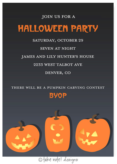 Take Note Designs - Halloween Invitations (Jack-O-Lantern Trio)
