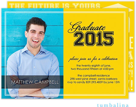Tumbalina Invitations - Grad Varsity (Yellow) (E32G1910B1)