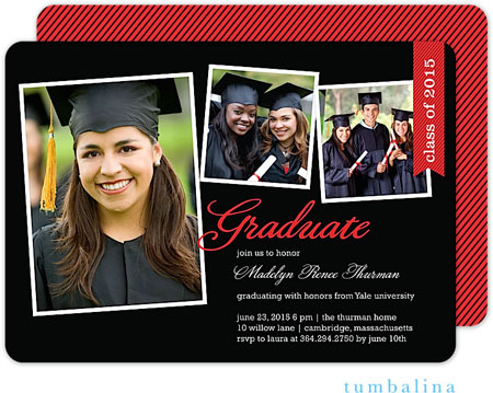 Tumbalina Invitations - Graduation Class Flag (Black & Red) (E32G1923B1)