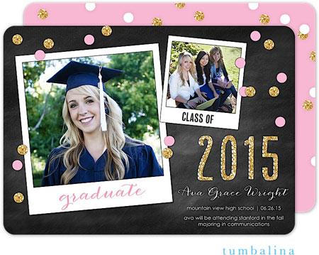 Tumbalina Invitations - Grad Confetti Snapshots (Chalkboard Pink) (E32G1957A1)
