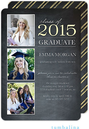 Tumbalina Invitations - Grad Class Memories (Chalkboard Yellow) (E33G1944E1)