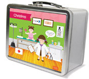 Spark & Spark Lunch Box - Doctor&#39;s Visit (Brunette Girl) (03-LC-1400-3-02)