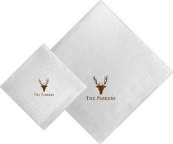 Boatman Geller - Linen-Like Personalized Beverage and Dinner Napkins (Stag Antlers)