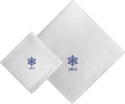 Boatman Geller - Linen-Like Personalized Beverage and Dinner Napkins (Snowflake)
