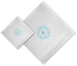Boatman Geller - Linen-Like Personalized Beverage and Dinner Napkins (Forget Me Not Floral Ring)