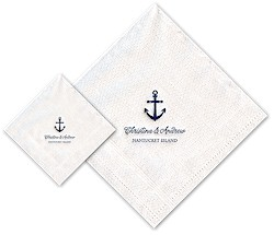 Boatman Geller - Linen-Like Personalized Beverage and Dinner Napkins (Anchor)