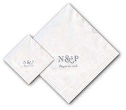 Boatman Geller - Linen-Like Personalized Beverage and Dinner Napkins (2-Initials)