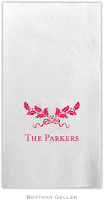 Boatman Geller - Linen-Like Personalized Guest Towels (Holly Swag)