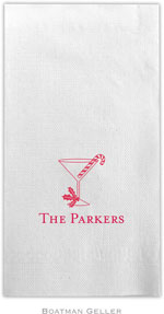 Boatman Geller - Linen-Like Personalized Guest Towels (Martini Glass with Candy Cane)