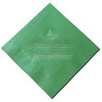 Classic Impressions - Embossed 3-ply Beverage/Luncheon Napkins (Merry Christmas)