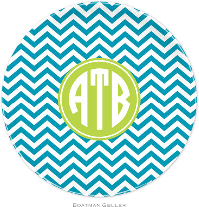 Boatman Geller - Custom Personalized Melamine Plates (Chevron Turquoise Preset) (579+P24+si04+A12)