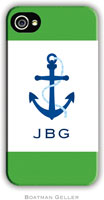 Boatman Geller Hard Phone Cases - Anchor Green Border