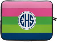 Boatman Geller Laptop Sleeves - Bold Stripe Pink Green & Navy (Preset)