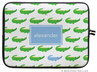 Boatman Geller Laptop Sleeves - Alligator Repeat Blue