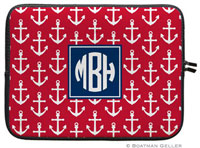 Boatman Geller Laptop Sleeves - Anchors White On Red (Preset)