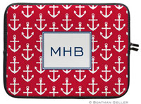 Boatman Geller Laptop Sleeves - Anchors White On Red