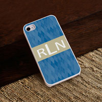Personalized iPhone Case (Blue Diamonds with White Trim) (GC973)