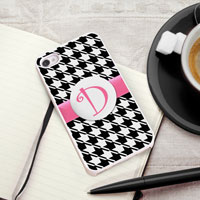 Personalized iPhone Case (Houndstooth with White Trim) (GC973)