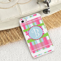 Personalized iPhone Case (Plaid with White Trim) (GC973)