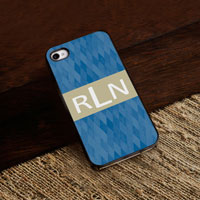 Personalized iPhone Case (Blue Diamonds with Black Trim) (GC974)