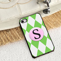 Personalized iPhone Case (Diamonds with Black Trim) (GC974)