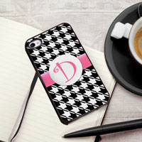 Personalized iPhone Case (Houndstooth with Black Trim) (GC974)