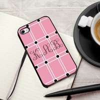 Personalized iPhone Case (Pink with Black Trim) (GC974)