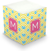 Dabney Lee Personalized Sticky Note Cubes - Happy Hexagon