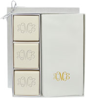 Personalized Linen-Like Guest Towels and Soap - 3 Bars
