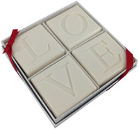 Soap Sets - 4 Square Guest Bars with Love Motif