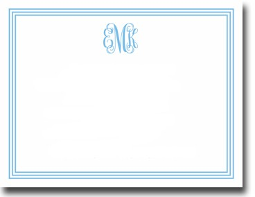 Boatman Geller Stationery - Grand Border Blue Flat Card (#20217)