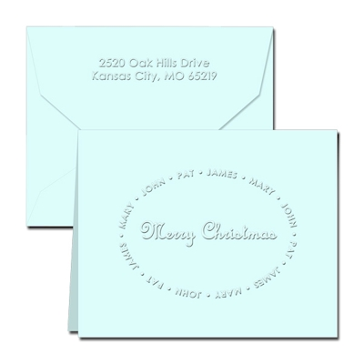 Classic Impressions Embossed Stationery - Christmas Family Notes