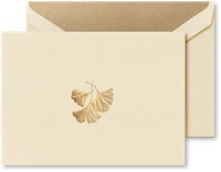 Crane Boxed Stationery Sets - Hand Engraved Ginkgo Leaf Note