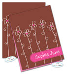 Dinky Designs Foldover Notes - Chocolate Pink Daisies (NC-898C)