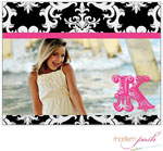Modern Posh Stationery/Thank You Notes - Black Damask Posh Photo - Black & Pink