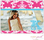 Modern Posh Stationery/Thank You Notes - Pink Damask Posh Photo - Pink & Blue (DFJ1901PinkBlue)
