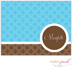 Modern Posh Stationery/Thank You Notes - Blue Bubble Posh - Blue & Brown