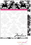 Modern Posh Stationery/Thank You Notes - Black Damask Posh - Black & Pink