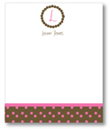 Polka Dot Pear Design - Correspondence Cards (Brown Monogram Dots)