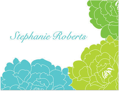 Prints Charming Note Cards/Stationery - Blue & Green Elegant Floral (Folded) (SN1069)