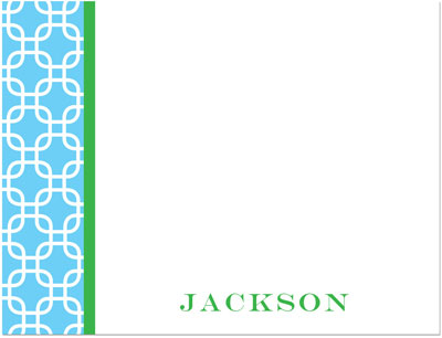 Prints Charming Note Cards/Stationery - Aqua & Green Stylish Chain (Flat) (SN1247)