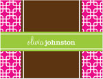 Prints Charming Note Cards/Stationery - Hot Pink & Green Modern Chain (Folded)