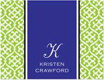 Prints Charming Note Cards/Stationery - Green & Blue Elegant Band (Folded)