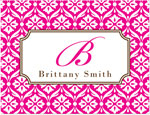 Prints Charming Note Cards/Stationery - Hot Pink & Brown Lace Pattern (Folded)