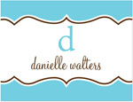 Prints Charming Note Cards/Stationery - Blue Decorative Band (Folded)