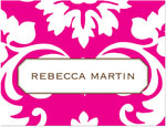 Prints Charming Note Cards/Stationery - Hot Pink Damask (Folded)
