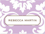 Prints Charming Note Cards/Stationery - Lavender Damask (Folded)