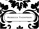 Prints Charming Note Cards/Stationery - Black & White Damask (Folded)